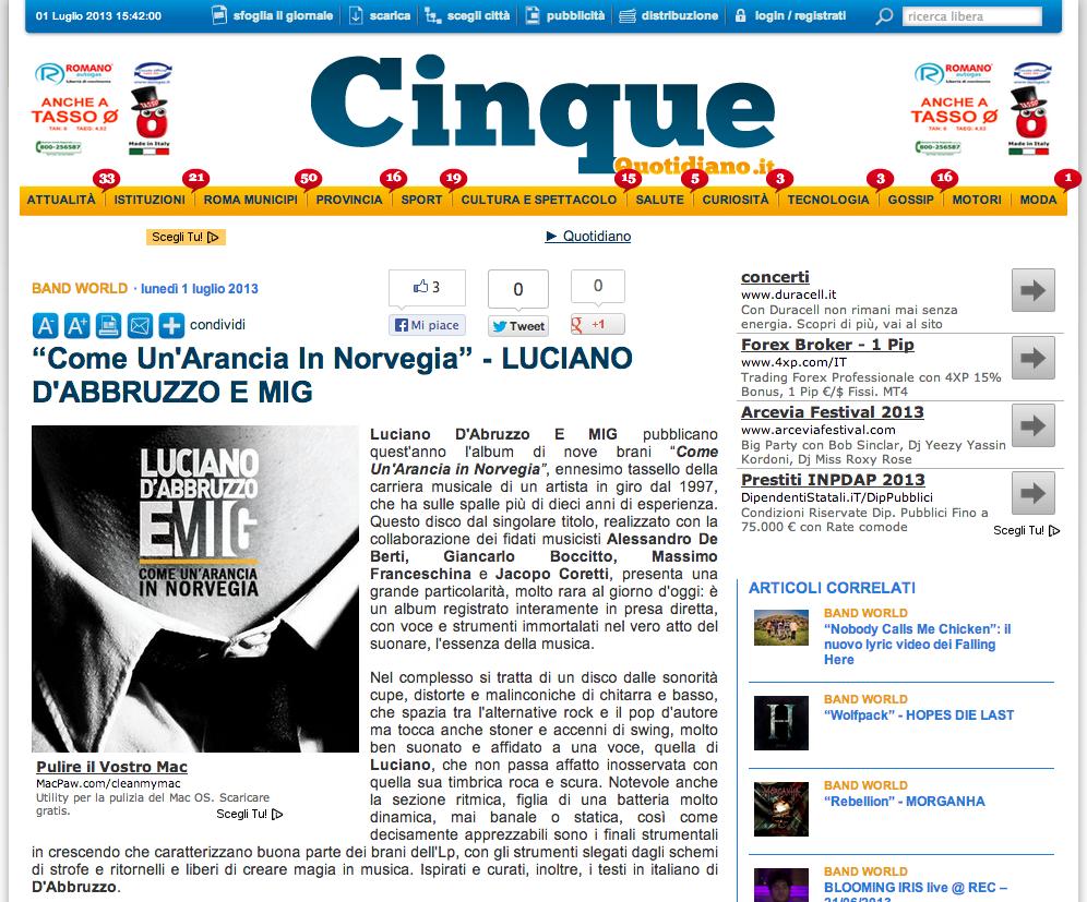 """Recensione dell'album """"Come un'arancia in Norvegia"""" su Cinquequotidiano.it"""