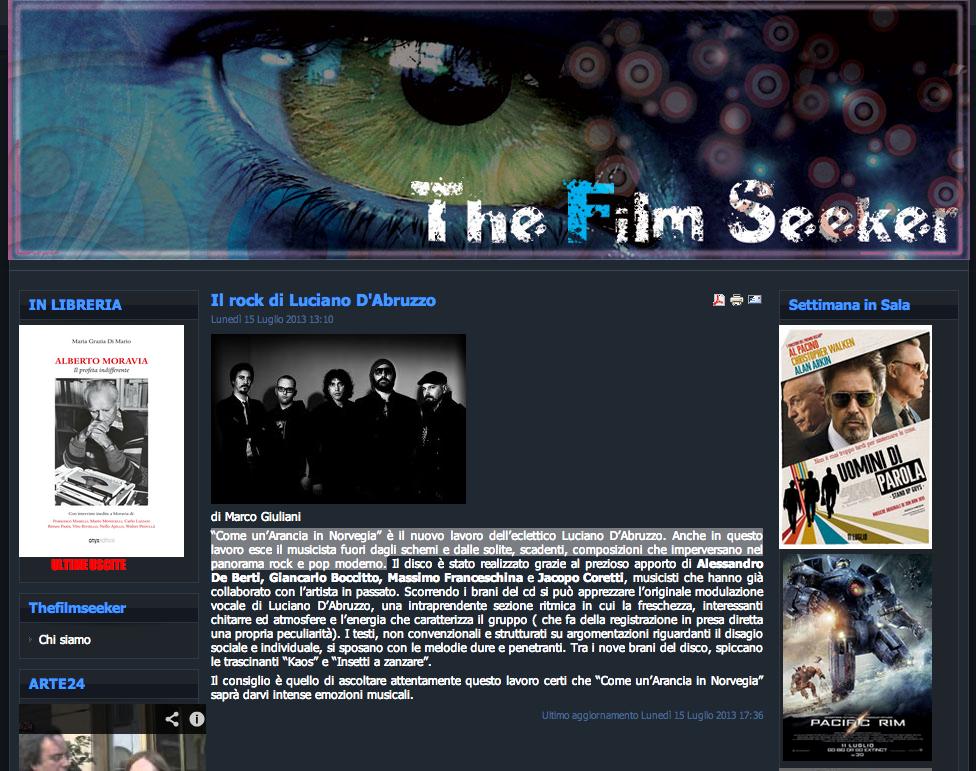"""Recensione dell'album """"Come un'arancia in Norvegia"""" su Thefilmseeker.it"""